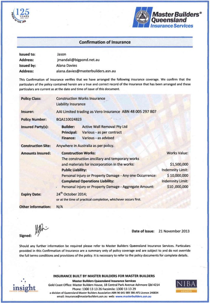 Constructions Risk Certificate of Insurance